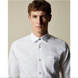 Ted Baker Linen Blend Casual Button Down Shirt